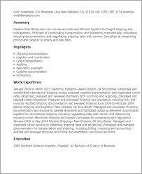 Resume Templates  Ship Broker My Perfect Resume