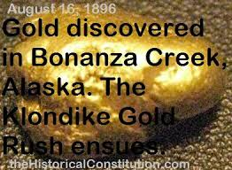「urned more favorable when gold was discovered in a tributary of Alaska's Klondike River」の画像検索結果