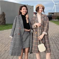 <b>Women's</b> winter coat fashion <b>Korean version</b> of the woolen plaid ...