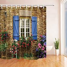 ottbrn 3D Digital <b>Printing Home</b> Garden Shower Curtain <b>Stone Wall</b> ...