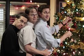 memorable television holiday office parties com view full sizenbc photo chris hastoned helms as andy bernard rainn wilson as dwight schrute and john krasinski as jim halpert are shown in a