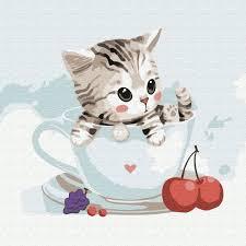 Molly Картина по номерам <b>Котенок в кружке</b> 20x20 - Акушерство.Ru