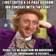 I just edited a 24-page Quorum IRB consent with tiny font Please ... via Relatably.com