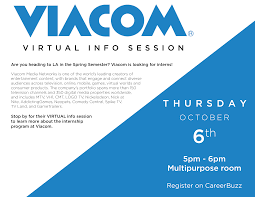 viacom virtual info session career services emerson college viacom flier