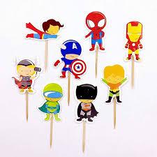 <b>24pcs</b> Cupcake Topper The Avengers Superman <b>Heros</b> Muffin Cake ...