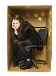 deppressed woman in a cardboard box office stock photo 11741013 cardboard office