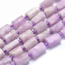 Wholesale Natural Kunzite Beads Strands, Column, Faceted ...
