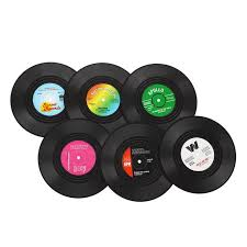 <b>Brand New 6 PCS</b> Vinyl Coaster Groovy Record Cup Drinks Holder ...
