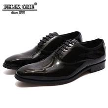relka high quality men luxury leather shoes vintage genuine fashion pointed toe thick heel solid lace up basic shoe n39