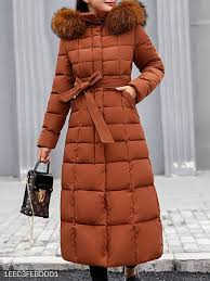 <b>Hooded Fur Collar</b> Belt Plain Coat #berrylook #<b>winter</b> #fall #fashion ...