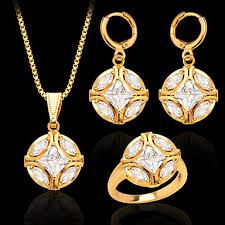 New Trendy <b>Women</b> Party Gift 18K Gold Plated White Zircon <b>Crystal</b> ...