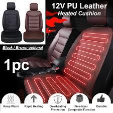 PU Leather <b>Car</b> Front <b>Seat Heated Cushion Seat Warmer</b> Winter ...