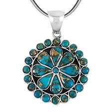 Turquoise Pendant Necklace in Sterling Silver 925 & <b>Genuine</b>