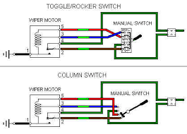wipers later two speed the rocker toggle switches have pins 1 3 5 and 7 connected together internally in the off position contacts 1 and 2 park brown light green 5 and 6