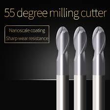 Ball Nose End Mill Sprial Bit Cutting <b>HRC55 2 Flute</b> 1mm <b>2mm</b> 3mm ...