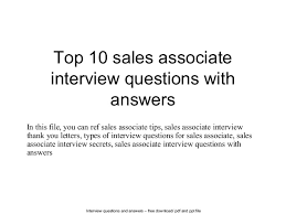top   s associate interview questions and answersinterview questions and answers –      pdf and ppt file top   s associate