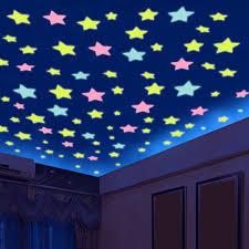 % <b>100 pcs</b>/lot <b>3D stars glow</b> in the dark Luminous on Wall Stickers ...