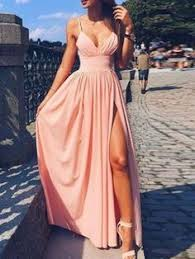 <b>Elegant Spaghetti</b>-<b>Strap</b> LongProm Dress Lace <b>Chiffon</b> With Split ...