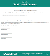notarized letter template for child travel best business template child travel consent form minor travel consent letter us inside notarized letter template