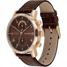 1710400 Brown And <b>Rose Gold Leather Men's</b> Watch