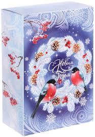 "<b>Коробка</b> складная <b>Дарите счастье</b> ""Снегири на венке"", цвет ..."