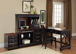 black wooden l shaped desk with hutch and drawer plus black chair and computer set for bathroomoutstanding black staples office furniture lshaped