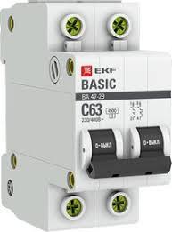 <b>Автоматический выключатель 2P 10А</b> (C) 4,5кА ВА 47-29 EKF Basic