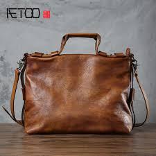 <b>AETOO Original</b> handmade male package tanned <b>leather</b> shoulder ...