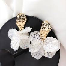 Korean White Shell Flower Petal <b>Drop Earrings</b> For Women <b>2019</b> ...