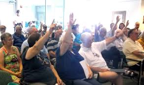 big crowd shows up to hear proposal for indoor gun range those opposed to the proposed indoor gun range raise their hands monday night at a lady