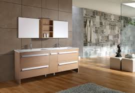 bathroom place vanity contemporary: surprising contemporary bathroom with wooden flooring tile ideas completed with bathroom vanity cabinets applying dual sink