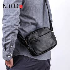 <b>AETOO Leather</b> diagonal cross bag male mini trend casual youth ...