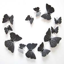 12Pcs/Set PVC <b>Black Butterfly</b> 3D Wall Sticker Mural DIY <b>Design</b> ...