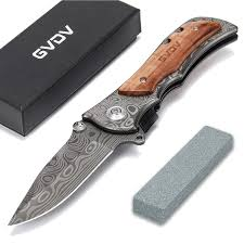 GVDV Pocket <b>Folding Knife</b> with Sharpener 7Cr17 Stainless Steel ...