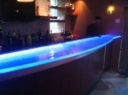 installation of a thermoformed glass bar top bar top lighting