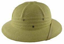 K Summer 100% Straw Pith Helmet Postman Hat Brown Fedoras