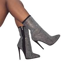 <b>NIUFUNI Lady</b> Over The Knee Boots Rhinestone Crystal Bling ...