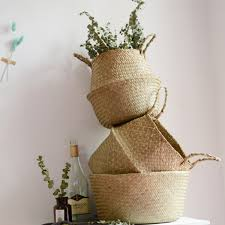 folding basket seaweed wicker baskets dirty laundry storage home simple decoration