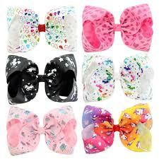 Fashion Large <b>8</b> Inch <b>Jojo Siwa Bows</b> Rainbow Ribbon Hair <b>Bow</b> ...