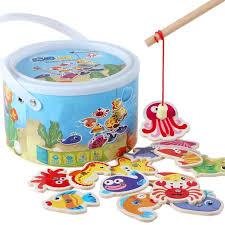 Fun <b>8Pcs</b>/set Colorful Wooden <b>Fishing</b> Digital Toys Kids <b>Fish</b> Set ...