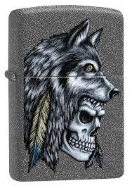 <b>Зажигалка Wolf Skull</b> Feather Design <b>ZIPPO</b> 29863 купить оптом в ...