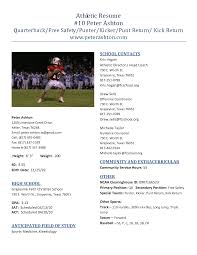 sports resume template college college resume  athletic
