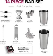 Premium <b>Cocktail Shaker Bar</b> Tools Set (<b>14 piece</b>) Brushed ...