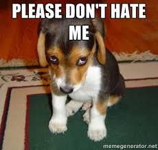 please don't hate me - Sad dog meme | Meme Generator via Relatably.com