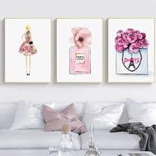 fashion paris perfume book makeup wall art canvas painting pictures for living room hoom decor posters unframed