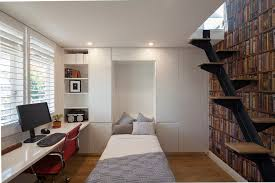 small minimalist study room photo in sydney with a built in desk and white walls built home office designs