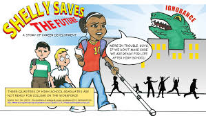 shelly saves the future u s department of labor blog a comic showing three teenagers leaving school a huge dinosaur d ignorance looms