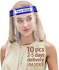<b>10 PCS</b> Safety Adult <b>Face</b> Shield Reusable Full <b>Face</b> Transparent ...