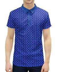 Рубашка Поло с полной запечаткой Синий <b>пейсли</b>, мужской ...
