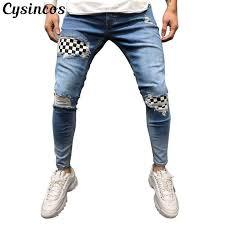 <b>CYSINCOS</b> 2019 New <b>Fashion Men</b> Holes <b>Jeans</b> High Street ...